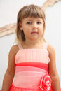 Red dress portrait little girl in Stock Photography