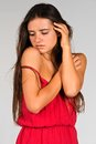 Red dress slender young romanian woman in a Stock Images