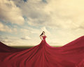 Red dress a woman standing in a field with a huge Royalty Free Stock Image