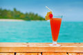 Red drink at a beach resort all inclusive holidays Stock Photo