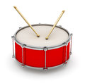 Red drum with drumsticks Stock Photo