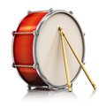 Red drum with drumsticks creative abstract musical instrument concept pair of on white background reflection effect Stock Image