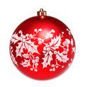 Red dull christmas ball on white background Stock Photos