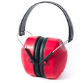 Red earmuffs isolated on white background Stock Photography