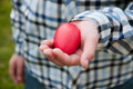 Red easter egg kid hand Royalty Free Stock Photos