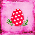 Red easter egg polka dots pink grungy background vintage feel Stock Images