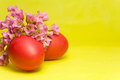 Red Easter eggs and bergenia Royalty Free Stock Images