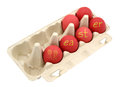 Red easter eggs in a box isolated with clipping path Stock Image