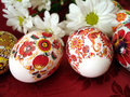 Red easter eggs with flowers Stock Image