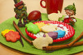 Red egg easter decoration with and delicious homemade cookies Stock Image