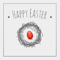 Red egg easter symbols greeting card Stock Images