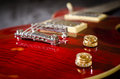 Red electric guitar bridge tune o matic and volume controls Royalty Free Stock Images