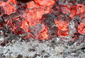 Red embers in stove Royalty Free Stock Photos