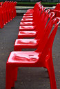 Red Empty Chairs Stock Photo