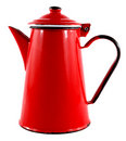 Red Enamel Tea Coffee Pot Stock Image