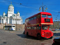 Red english bus in Helsinki, Finland Stock Images