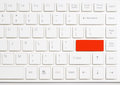 Red enter button on white  computer keyboard Royalty Free Stock Photo