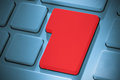 Red enter key on keyboard blue Stock Photography