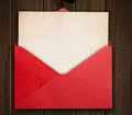 Red envelope with card. Royalty Free Stock Photo