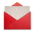 Red envelope with empty card open recycled paper Stock Image