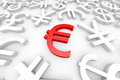 Red euro sign around another currency signs. Stock Photography
