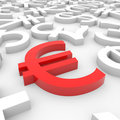 Red euro sign around another currency signs. Royalty Free Stock Images