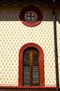 Red europe italy lombardy in the milano shield shutter old window closed brick abstract grate Stock Image