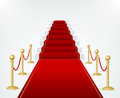 Red Event Carpet, Stair and Gold Rope Barrier. Vector