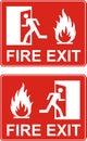 Red exit sign. Emergency fire exit door and exit door. Label wit