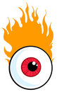 Red eyeball in flames Stock Image