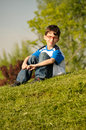 Red eyewear young boy Royalty Free Stock Photo