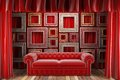 Red fabric curtain frames sofa Royalty Free Stock Photo