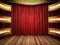 Red fabric curtain on golden stage made in d Stock Photos