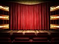 Red fabric curtain on golden stage made in d Stock Images