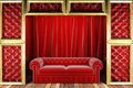 Red fabric curtain and sofa on golden stage made in d Royalty Free Stock Photos