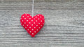 Red Fabric Heart on Barn Board Royalty Free Stock Images
