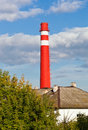 Red factory chimney Royalty Free Stock Photos