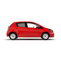 Red Family Hatchback Car isolated on white 3D Illustration Royalty Free Stock Photo