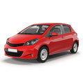 Red Family Hatchback Car  on white 3D Illustration Royalty Free Stock Photo