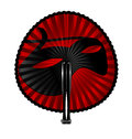 Red fan mask white background and the rounde with black Royalty Free Stock Photo