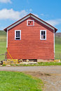 Red farm building colored or barn on in west virginia near seneca rocks Stock Photo