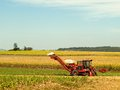 Red Farm cane harvester on agriculture land Royalty Free Stock Photo