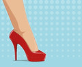 Red fashionable shoes on female foot Royalty Free Stock Photo