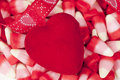 Red Felt Heart, Valentine's Day Royalty Free Stock Photos