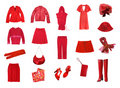 Red female clothes set Stock Photography