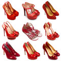 Red female shoes-1 Royalty Free Stock Image