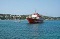 Red ferry jumbo ii santa ponsa majorca july touring the dragonera island on july outside mallorca balearic islands spain Stock Photography