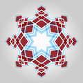Red festive christmas star and blue geometric abstract snowflake over light background Stock Images