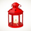 Red festive lantern with a candle inside isolated on white background Royalty Free Stock Images