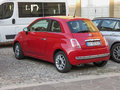 Red Fiat New 500 car in Bergamo